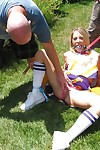 Adolescent cheerleader Shawna Lenee purchases dug fixed firmly up with loads of ball batter