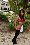 Attractive teen cutie Riley Jensen erotic dancing and jacking off her bawdy cleft outdoor