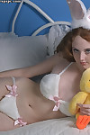 Wild redhead Dawn lets slip her adolescent gazoo and pussy in close up