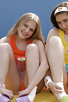 Sexually intrigued teen-age lesbian cuties erotic dancing and fingering always other\'s cunts