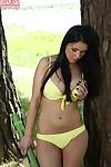 Infant pretty in wild yellow bikini Pernilla into jacking off outdoors