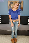Sweet blond principal timer Madina Princess removing boots and ripped jeans