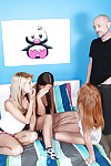 Conflicting group sex with Euro legal age teenagers in socks giving giving handjob