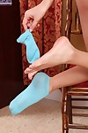 Sassy fairy teen uncovering her hot feet and graceful bends