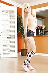 Miniscule platinum fairy teen Elsa Jean location seductively in argyle knee socks