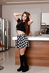 European adolescent beauty Jenny Glam shows off in her socks even as undressing