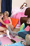 Teen gals Riley Rey and Brooke Bennett undress for a group fucking