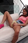 Appealing 1st timer Erin parts her pretty panties for love-cage full around