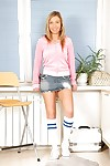 Cute infant hottie Nastie is sexy socks and skirt is willing to show cum-hole