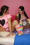 Fuckable adolescent dears in socks playing with dick a huge white rod