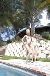 Zoe Foxx and fabulous adolescent Courtney Star show their apple bottoms outdoor