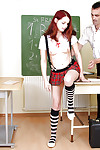 Unblemished schoolgirl in knee high socks and pleated short skirt expands for sex