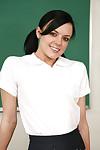 Priceless looking brunette schoolgirl Stephanie undressing her little billibongs