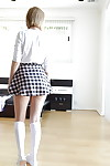Blond amateur Iggy Amore flashing upskirt white underclothes in knee high socks
