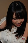 Lovely asian adolescent Chisa Nagata getting exposed and vibing her slit