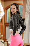 Wanking dear with a fit body Belle Knox is action it in her yoga shorts