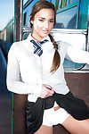 Passionate teenager Amirah Adara pulls down her white schoolgirl panties