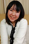 Asian juvenile Chihiro Tanabe undressing and expanding her vagina lips in close up