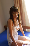 Appealing Chinese dear with neat fanny and insignificant tits erotic dancing off her sexy pants