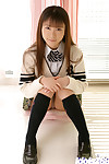 Cute asian schoolgirl Emiru Momose revealing her miniscule mounds and shaggy cooter