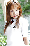Adorable oriental schoolgirl Reika Shina erotic dancing off her uniform