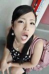 Oriental teen Mana Kikuchi gives head and gets mouth intact of creamy goo