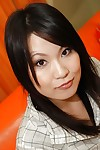 Cheery asian lass Kumiko Naruoka undressing and amplifying her underneath lips