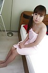 Stunning eastern adolescent Yuka Takagi exposing her slit in close up afterwards bathroom