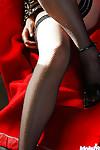 Japanese amateur in nylons Hikaru Koto teasing her cage of love underside her panties