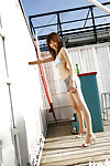 Thin oriental adolescent darling Hara Sarasa striptease off her clothing outdoor