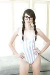 Skinny girlfriend Emily Grey takes off her bikini during the time that wearing glasses