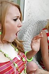Teen Ami Emerson gets plenty of cumshots on her face while fucking