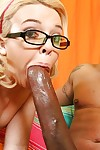 Teen babe in glasses Emma Heart has interracial sex with bukkake