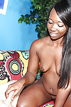Lusty ebony teen jerks off a white dick and receives a frontal bukkake
