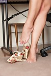 Barefoot blonde babe Adriana Sephora unleashing big natural boobs