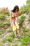 Barely legal teen hottie flashing perfect big natural tits outdoors