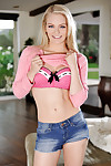 Sexy smiling teen blonde Alli Rae is showing off her cute boobies