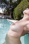 After some yoga sexy girl Mia Pearl gets naked and relaxes in the pool