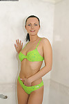 Amateur teen Lenka takes off her beautiful green lingerie in the bath