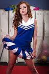 Slippy cheerleader with red lips stripping off her uniform and panties