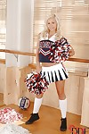 Blonde cheerleader teen Tracy Lindsay takes off her sexy clothes