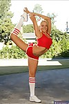 Flexible babe Briana Blair denudes ass and hooters at the sports class