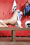 Tall and busty cheerleader Peta Jensen posing nude in knee socks