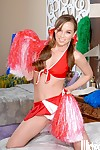 Hot cheerleader babe Capri Anderson stripping and spreading her legs