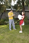 Slutty cheerleader gets tricked into blowjob with ball licking outdoor