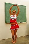 Nasty cheerleader Jamey James stripping and exposing her bare feet