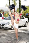 Flexible blonde pornstar Carmen Caliente displays her fit Latina body