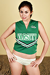 Young Latina chick Mai flashing white panties underneath cheerleader outfit