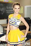 Cheerleader schoolgirl Katie Jordin spreading pussy in classroom