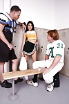 Petite cheerleader Kimberly Gates fucked by two big cock in locker room